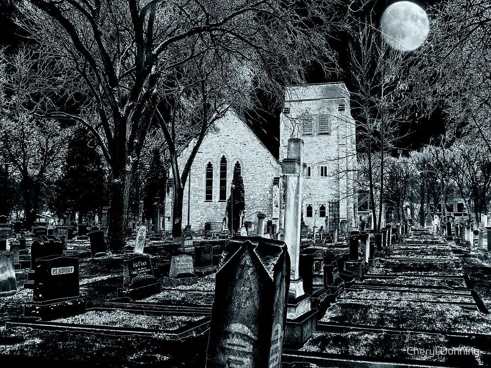 moonlit graveyard by Cheryl Dunning
