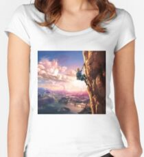 Breath of the Wild Link climbing Women's Fitted Scoop T-Shirt