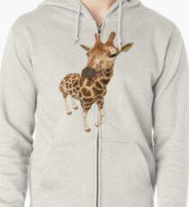 Hello--- baby Giraffe Zipped Hoodie