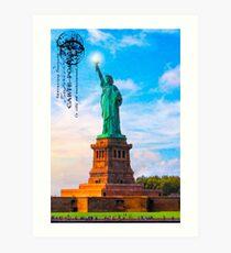 Statue Of Liberty Vintage Art - Lady Liberty Lifts Her Light Art Print
