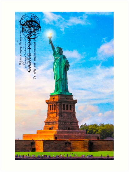 Statue Of Liberty Vintage Art - Lady Liberty Lifts Her Light by Mark Tisdale