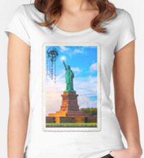 Statue Of Liberty Vintage Art - Lady Liberty Lifts Her Light Women's Fitted Scoop T-Shirt