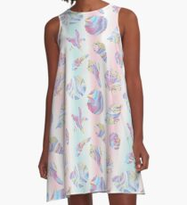 Rainbow Marble Holographic Seashells A-Line Dress