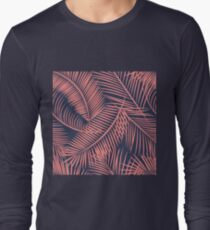 Fern Leaf Toss in Coral and Navy Long Sleeve T-Shirt