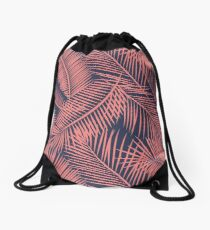 Fern Leaf Toss in Coral and Navy Drawstring Bag