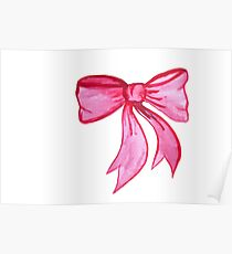 Pink Watercolor Bow Poster
