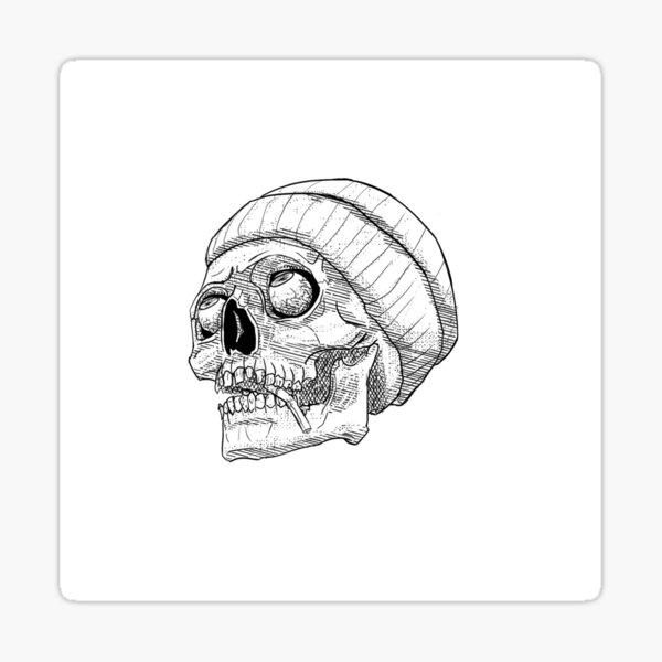 Punk Skull Line Art Sticker