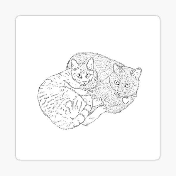Cat Cuddle Line Art Sticker