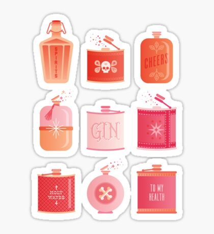 Flask Collection – Pink/Peach Ombré Palette Sticker