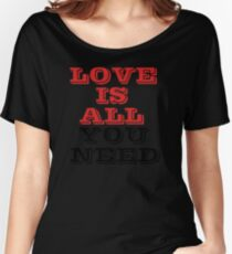 The Beatles Song Lyrics Famous All You Need Is Love Peace Rock Music Women's Relaxed Fit T-Shirt