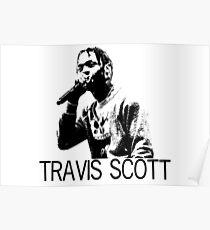 Travis Scott Black and White Print Poster
