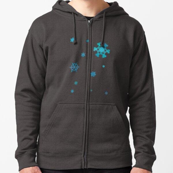 Blue Snowflakes Zipped Hoodie