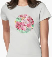 Blossoming - a hand drawn floral pattern Womens Fitted T-Shirt