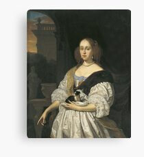 Frans Van Mieris I - Portrait Of A Lady With A Lapdog Canvas Print