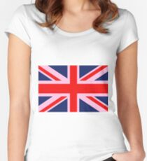 A Pink Union Jack of the United Kingdom Women's Fitted Scoop T-Shirt