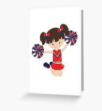 Cheerleader Girl in Red Greeting Card