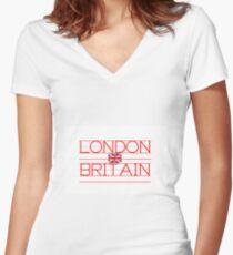 LONDON - BRITAIN Women's Fitted V-Neck T-Shirt