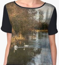 Winter Scene On The Kennet And Avon Women's Chiffon Top