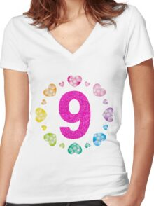 9th Birthday For Girls Shiny Hearts Princess Nine Women's Fitted V-Neck T-Shirt
