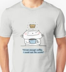 'With enough coffee, I could rule the world' / Cat doodle Unisex T-Shirt