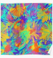 Abstract  background with neon splashes Poster