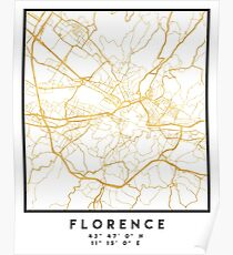 FLORENCE ITALY CITY STREET MAP ART Poster