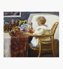 Frederick William Mac Monnies - Baby Berthe In A High Chair With Toys Photographic Print