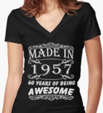 Special Gift For 60th Birthday - Made in 1957 Awesome Birthday Gift Women's Fitted V-Neck T-Shirt