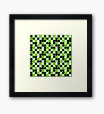green background white black dots pattern Framed Print