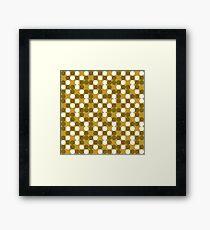 golden brown background white brown dots pattern Framed Print
