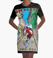 BICYCLES ARE FUN: Cartoon Racing Print Graphic T-Shirt Dress
