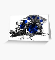 Old Boots - Blue Greeting Card