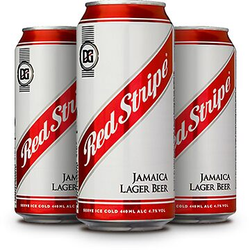 Red Stripe Three Lager Cans by mimarumble