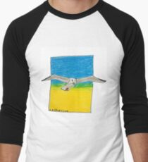 Soaring seagull in a clear sky Men's Baseball ¾ T-Shirt