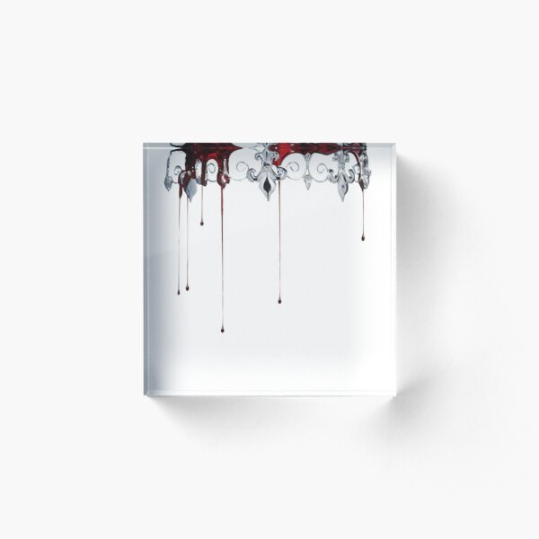 Silver and Red Acrylic Block