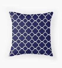 Navy Blue Moroccan Geometric Pattern Throw Pillow