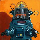 Forbidden Planet - robot painting by LindaAppleArt