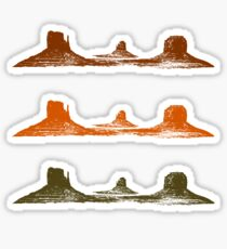 Monument Valley, 3 mountains, 3 Colors Sticker