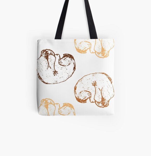 Curl Up Cat All Over Print Tote Bag