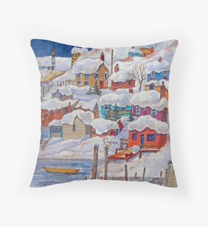 Snow on the Rock or Winter in St. John's (Newfoundland) Throw Pillow