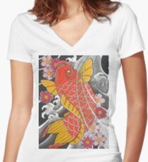 Koi x Sakura Women's Fitted V-Neck T-Shirt