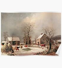 George Henry Durrie - Farmyard In Winter1858 Poster