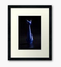 Blue cat in  dark room back view Framed Print
