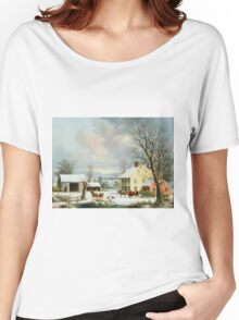 George Henry Durrie - Winter In The Country1857 Women's Relaxed Fit T-Shirt