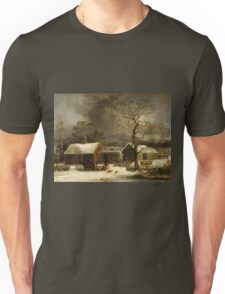 George Henry Durrie - Winter Scene In New Haven, Connecticut Unisex T-Shirt