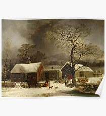 George Henry Durrie - Winter Scene In New Haven, Connecticut Poster