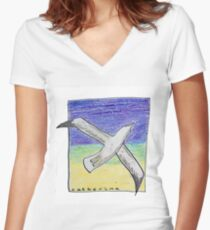 Gliding seagull in the summer sky Women's Fitted V-Neck T-Shirt