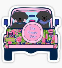 Preppy Jeep Black Lab Puppies - Pink Flamingo Sticker