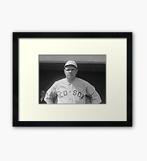 Babe Ruth: Red Sox Black and White Image Framed Print