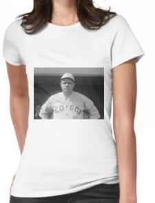 Babe Ruth: Red Sox Black and White Image Womens Fitted T-Shirt